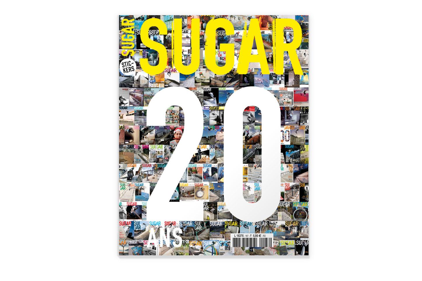 couverture Sugar skateboard magazine 187, 20 ans